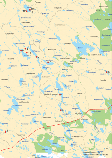 Naarmankairan kartta, johon on merkitty Aarne Erkki Järvisen kairan 13 nähtävyyttä.
