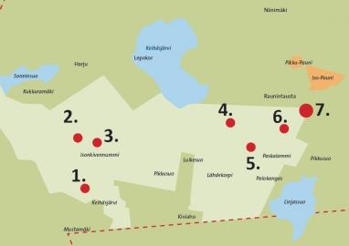 Keihäsjärven eteläpuolen kartta, johon on merkitty Aleksis Kiven metsästysmaiden seitsemän nähtävyyttä.