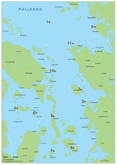 Kartta, johon on merkitty Erakko Pylväläisen kalavetten 11 nähtävyyttä.