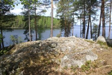 Puiden ympäröimä kiviröykkiö järven rannalla.
