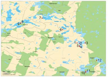 Kartta, johon on merkitty Itkijänaisten erämaan 12 nähtävyyttä.