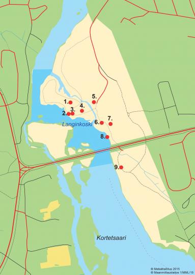 Langinkosken kartta, johon on merkitty Keisarillisten lohivetten yhdeksän nähtävyyttä.