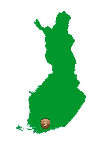 Suomen kartta, johon on merkitty Aleksis Kiven metsästysmaiden sijainti Lopin kohdalle.