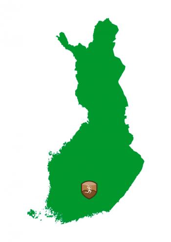 Suomen kartta, johon on merkitty Erakko Pylväläisen kalavesien sijainti Päijänteen kohdalle.