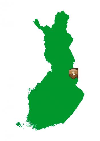 Suomen kartta, johon on merkitty Itkijänaisten erämaan sijainti Suomussalmen kohdalle.