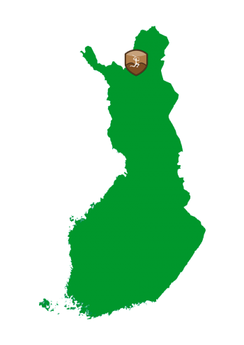 Suomen kartta, johon on merkitty Kaapin Jounin jutamaiden sijainti Inarin kohdalle.