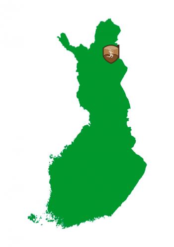 Suomen kartta, johon on merkitty Moskun kalavesien sijainti Urho Kekkosen kansallispuiston kohdalle.