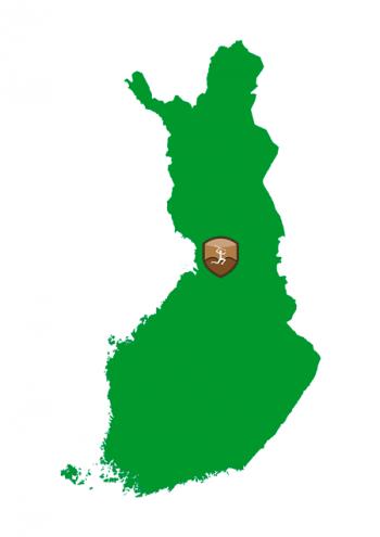 Suomen kartta, johon on merkitty Muinaisten pyyntimaiden sijainti Iin ja Pudasjärven kohdalle.