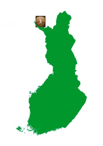 Suomen kartta, johon on merkitty Urkin urien sijainti Käsivarren kohdalle.