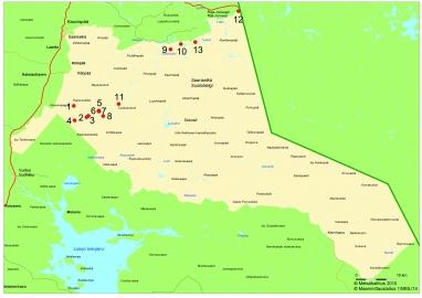 Urho Kekkosen kansallispuiston kartta, johon on merkitty Moskun kalavetten 13 nähtävyyttä.
