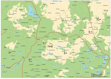 Kartta, johon on merkitty Muinaisten pyyntimaiden 11 nähtävyyttä.