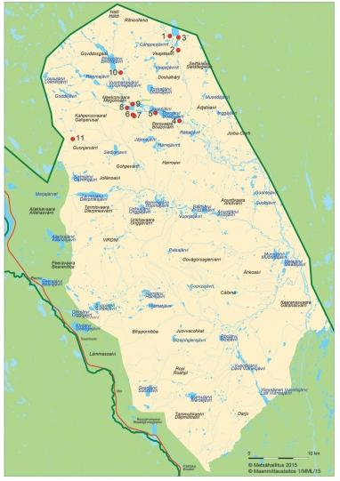 Kartta, johon on merkitty Urkin urien yksitoista nähtävyyttä.