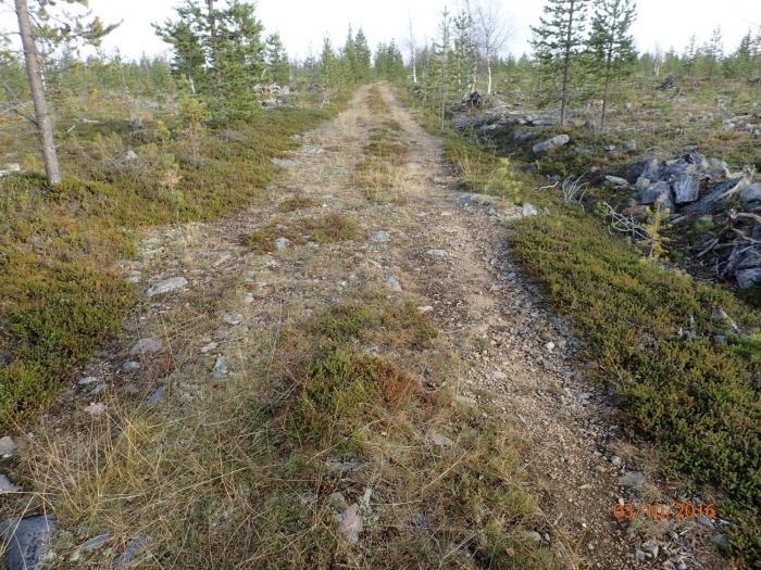 Rakennettu tie, jolla on soraa puutteellisesti.