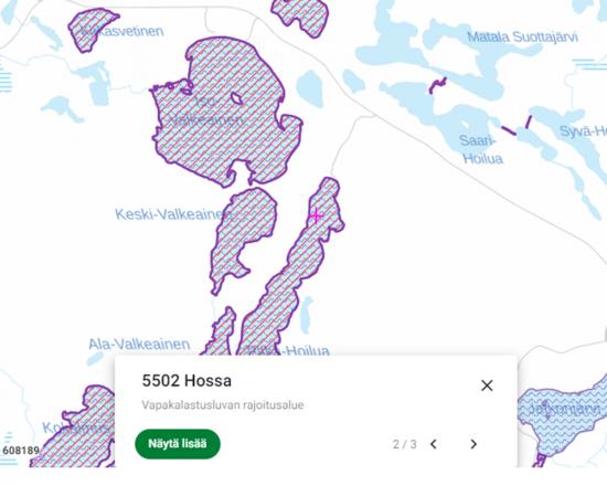 Kartalla näkyy lupa-alue, rajoitusalue sekä kortti, jolla on linkki lisätiedon pariin.
