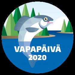Vapapäivän logo, jossa hyppäävä kala.