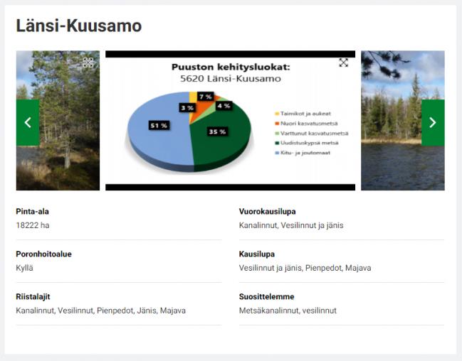 Kuvakaappaus Länsi-Kuusamon pienriista-alueen sivulta. Kuvassa näkyy kuvia alueelta, joista yksi on puuston kehitysluokkia kuvaava diagrammi.