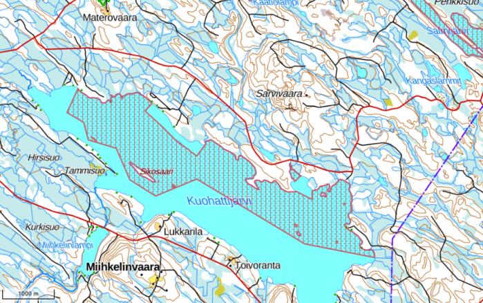 Kartta valtion vesialueista Kuohattijärvellä