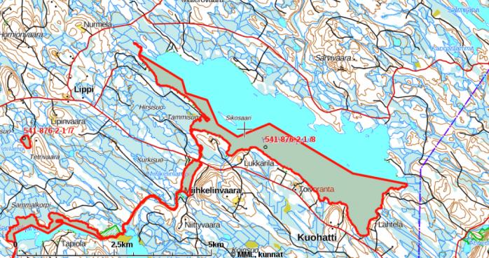 Kartta osakaskunnan vesialueista Kuohattijärvellä