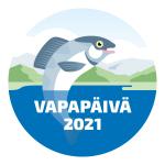Vapapäivän logo, jossa vedestä hyppää naurava kala.