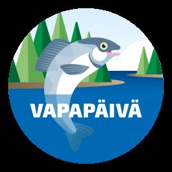 Spödagens logotyp, en skrattande fisk